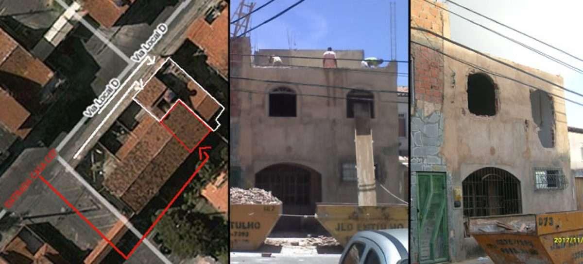 Na parte marcada em vermelho, a entrada e área de 71 m2 adquirida no leilão da CEF, na marcação branca, a parte entregue pelo magistrado