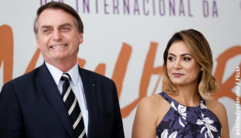 O Presidente do Brasil, Jair Bolsonaro, e a primeira-dama, Michelle Bolsonaro